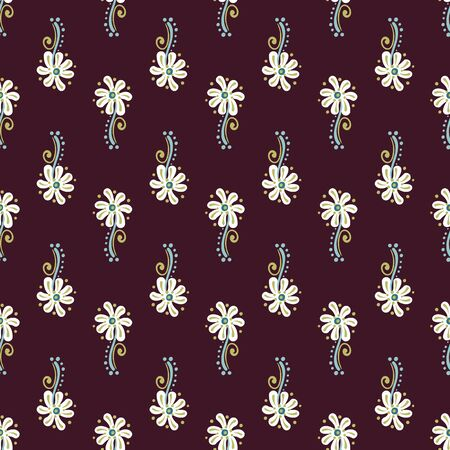 Rows of daisies seamless pattern on a dark background. Decorative surface print design. Foto de archivo - 143291105