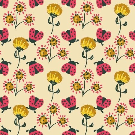 Ladybugs and flowers seamless vector pattern in red and yellow. Decorative girly surface print design with simple illustrations. For fabrics, cards, gift wrapping paper, scrapbooking, and packaging.