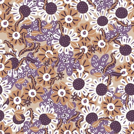 Purple beige and brown flowers seamless vector pattern. Botanical surface print design. For fabrics, stationery and packaging.