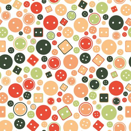 Round and square buttons seamless vector pattern. Sewing themed surface print design. For fabrics, stationery and packaging. Stock Illustratie