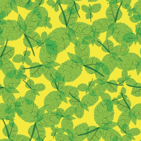 Green mint leaves on a yellow background seamless vector pattern. Herbs themed surface print design. For fabrics, stationery, scrapbook paper, and packaging.
