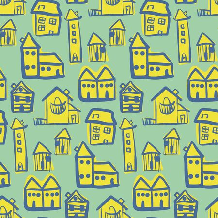 Doodle yellow buildings seamless vector pattern on teal background. Little town surface print design. For fabrics, stationery and packaging. Ilustrace