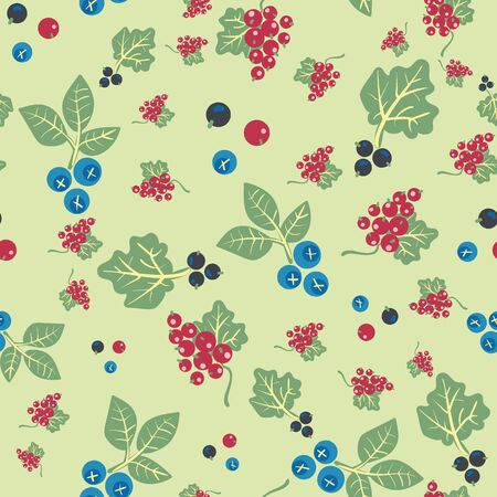 Blueberries, redcurrants, and blackcurrants seamless vector pattern. Summertime farm fruit surface print design. Healthy vegan food. For fabrics, stationery and packaging.