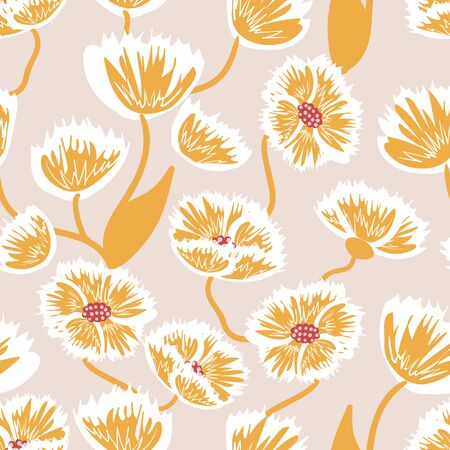 Yellow flowers seamless vector pattern on a pale background. Feminine surface print design. For tiling on textiles, stationery and packaging.