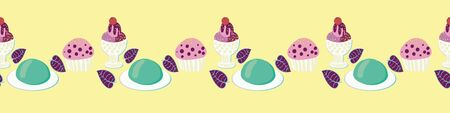 Row of desserts seamless vector border print. Delicious ice cream, yely and cupcakes illustrations. Embellishment for cards, posters and packaging. Can be used as striped pattern.
