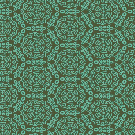 Green medallions geometric seamless vector pattern. Dark unisex surface print design. For fabrics, stationery and packaging.