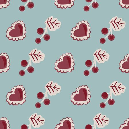 Red currants and hearts seamless vector pattern on a blue background. Fruity surface print design. For fabrics, stationery and packaging.