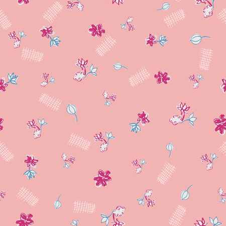 Pink ditsy floral doodle seamless vector pattern. Girly surface print design. For botanical fabrics, cute stationery, sweet wrapping paper, and cosmetics packaging.