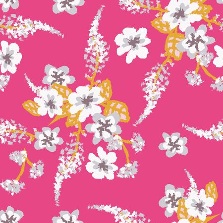 Light floral bouquets seamless vector pattern on a vibrant pink. Decorative feminine surface print design. For fabrics, stationery, wrapping paper, cards, andv packaging. Çizim