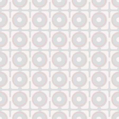 Squares and circles seamless vector abstract pattern in light colors. Minimal surface print design. For simple backgrounds, stationery, and packaging. Illustration