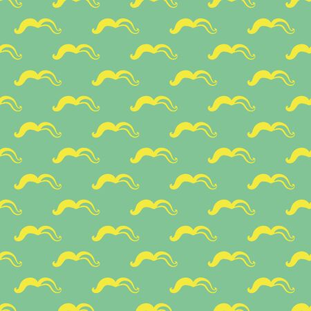 Yellow mustache seamless vector pattern on green. Simple surface print design. For fabrics, stationery, and packaging.