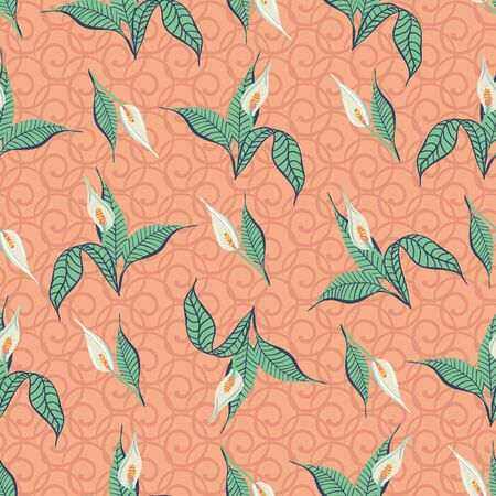 Calla lilies seamless vector pattern. Floral surface print design. For fabric, stationery, and packaging. Vectores
