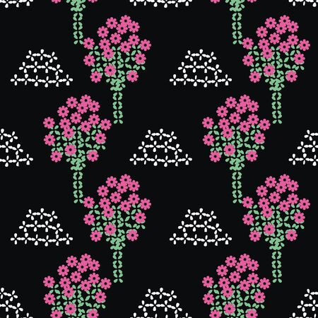Blooming orchard seamless vector folk pattern on black background. Decorative surface print design. For fabric, stationery, and packaging. Vectores