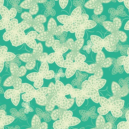 Mint green butterflies seamless vector pattern. Decorative surface print design. For farics, stationery, and packaging.