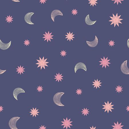 Moons and stars seamless vector bed time pattern. Simple childish surface print design. For fabrics, stationery, and packaging. 向量圖像