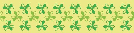 Wood sorrel seamless vector border print. Simple botanical border print. Can be repeated to use as striped pattern. For fabrics, statoinery, cards, posters, and packaging. Illustration
