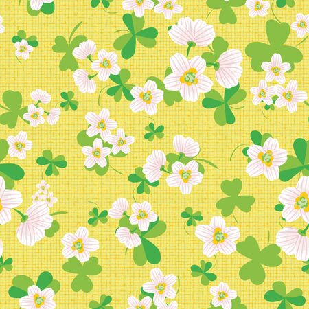Wood sorrel blooms seamless vector pattern on yellow. Wildflowers themed surface print design. For fabrics, stationery, scrapbook paper, packaging, and gift wrap.