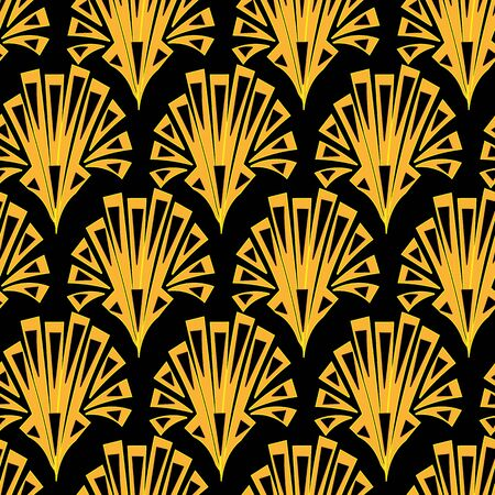 Art deco shell shapes ornament seamless vector pattern. Surface print design for fabrics, stationery, scrapbook paper, and pacaging.