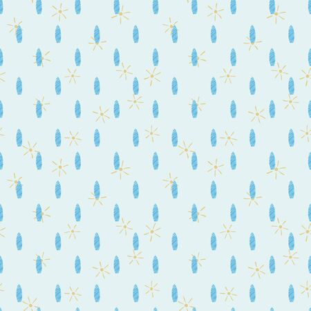 Simple surfboards and suns seamless vector pattern. Summertime surface print design. For fabrics, stationery, and packaging.  イラスト・ベクター素材