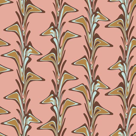 Marbled paper seamless vector pattern in pink, rown and blue. Traditional dyeing technique inspired surface print design. For fabrics, stationery, and packaging.