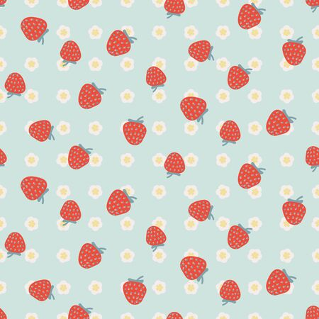 Red strawberries on light blue floral seamless vector pattern. Summertime picnic theme surface print design. For girly fabrics, stationery, and packaging.