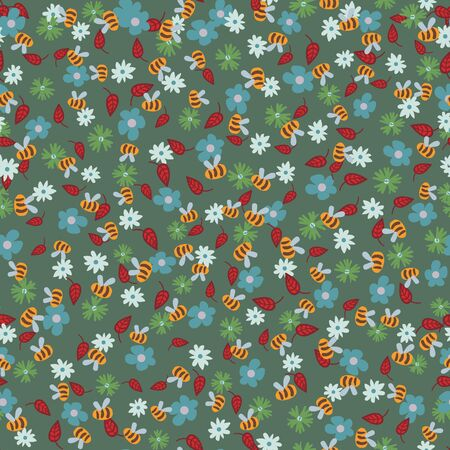Flowers and bees seamless vector pattern. Colorfful surface print design. For fabrics, stationery, scrapbook paper, gift wrap,and packaging. 向量圖像
