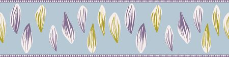 Pressed flower petals girly vector border print. Decorative embellishment for cards, invitatoins, and posters. Can be used as striped seamless pattern for fabrics, textiles, stationery, and packaging.