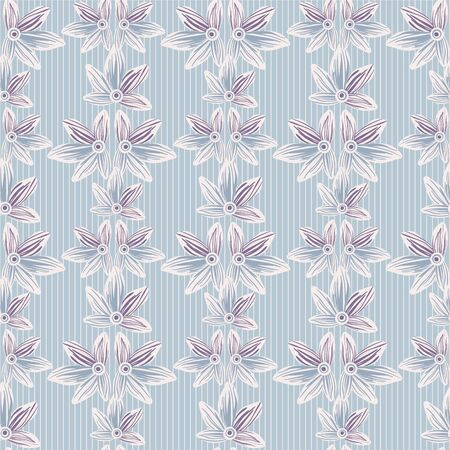 Pastel floral striped seamless vector pattern in blue. Decorative delicate ornament surface print design for fabrics, stationery, wedding gift wrap, textiles, scrapbook paper and packaging,
