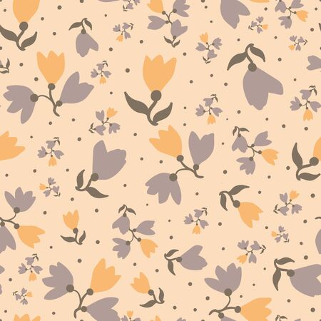 Warm yellow and grey floral seamless vector pattern. Vintage feminine surface print design for fabrics, textiles, wedding stationery, scrapbook paper, packaging, and gift wrap. Çizim