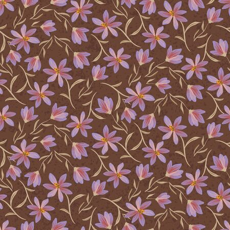 Delicate purple wildflowers seamless vector pattern on dark brown background. Decorative feminine moody surface print design for fabrics, textiles, stationery, scrapbooking, giftwrap, and packaging, Vector Illustration