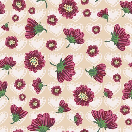 Pink flower heads and hearts seamless pattern. Romantic surface print design