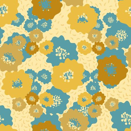 Bright golden yellow and blue flower seamless pattern. Summertime surface print design