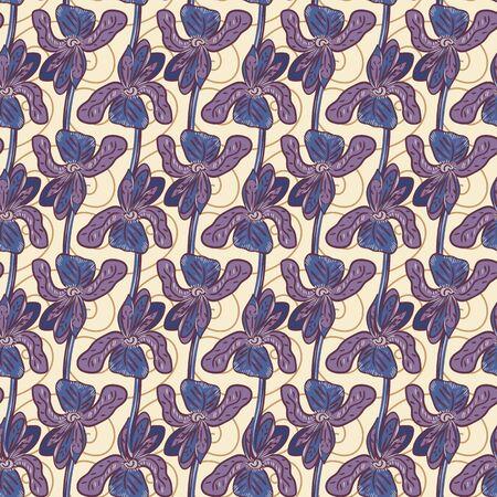 Iris flowers botanical seamless pattern. Decorative feminine surface print design 일러스트
