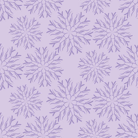 Purple branches mandalas seamless vector pattern. DEcorative surface print design for fabrics, stationery, and packaging.