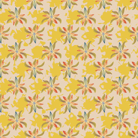 Yellow floral summertime seamless vector pattern. For feminine fabrics, girly stationery, textiles, gift wrap, cosmetics packaging, and home decor.