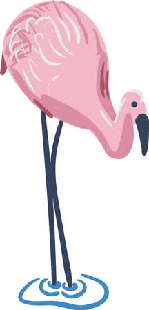 Flamingo standing in water simple vector illustration. For placement prints on clothes, stationery, cards, and posters.  イラスト・ベクター素材