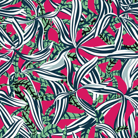Graphic leaves seamless vector pattern in bright colors. Decorative surface print design for fabrics, stationery, packaging, and gift wrap.