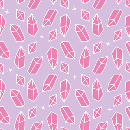 Pink shiny crystals seamless vector pattern. Girly mystical surface print design for fabrics, stationery, scrapbooking, textiles, gift wrapping paper, and packaging.