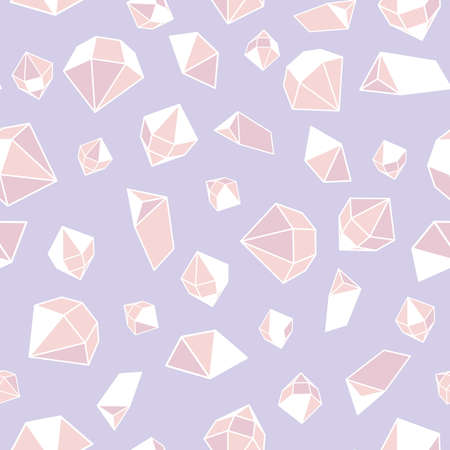 Pink gemstones seamless vector pattern. Crystal jewels surface print design for fabrics, stationery, textiles, backgrounds, wrapping paper, packaging and girly home decor.