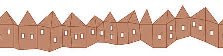 Row of paper cut cardboard houses vector border print. Playful surface print design for decorating cards, posters, and invitations. Can be used as striped seamless vector pattern.