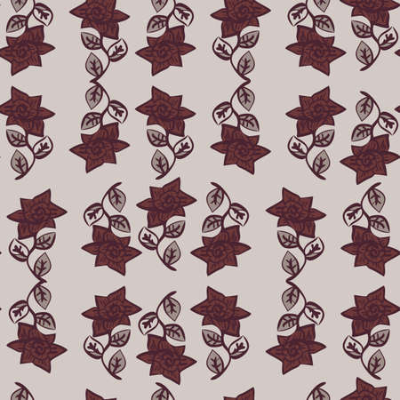 burgundy roses ornament seamless vector pattern. Feminine vintage surface print design for fabrics, textiles, stationery, gift wrap, home decor, scrapbook, and packaging,