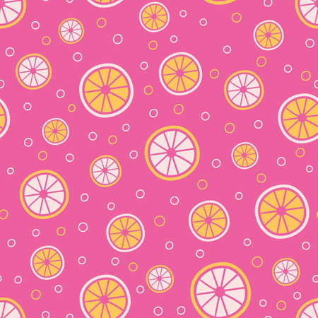 Citrus slices seamless vector pattern. Pink lemonade themed surface print design for summertime textiles, bright fabrics, stationery, scrapbook paper, girly gift wrap, and packaging. Illusztráció