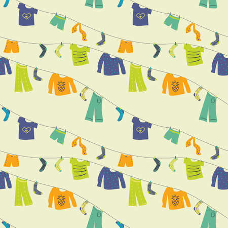 Strings of air drying clothes seamless vector pattern. Colofrul surface print design for fabrics, stationery, scrapbook, gift wrap, and packaging. Vetores