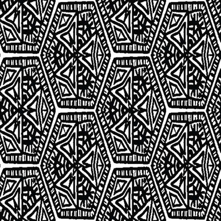 Black and white ethnic hexagonal seamless vector pattern. Unisex surface print design for fabrics, stationery, textiles, wrapping paper, gift wrap, and packaging.