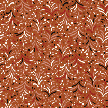 Rusty colored floral ornamental seamless vector pattern. Autumn season surface print design for backgrounds, textiles, fabrics, stationery, scrapbook paper, gift wrap, and packaging. Ilustração