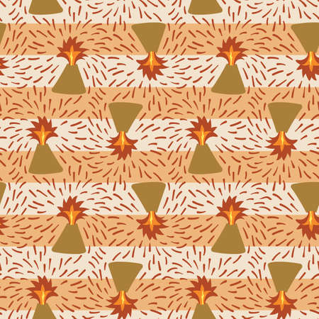 Volcanic eruption seamless vector pattern. Striped surface print design for fabrics,s tationery, scrapbook paper, gift wrap, and packaging. Ilustración de vector