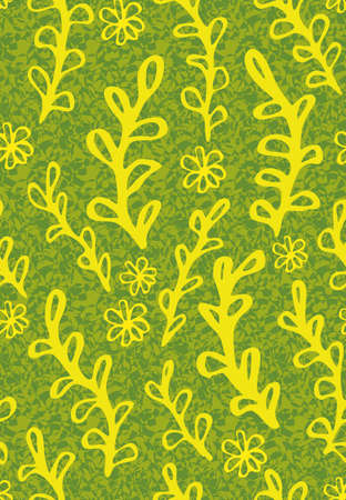 Yellow plants on green textured background. Botanical surface print design for fabrics, stationery, scrapbook paper, gift wrap, textiles, and packging. Illustration