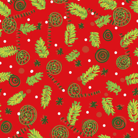 Christmas tree branches on seamless vector pattern on red. Seasonal festive surface print design for fabrics, stationery, scrapbook paper, gift wrap, textiles, and packaging. Illustration