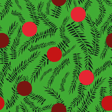 Red baubles and green christmas tree branches seamless vector pattern. Seasonal surface print design for fabrics, stationery, scrapbook paper, gift wrap, textiles, and packaging. Illustration