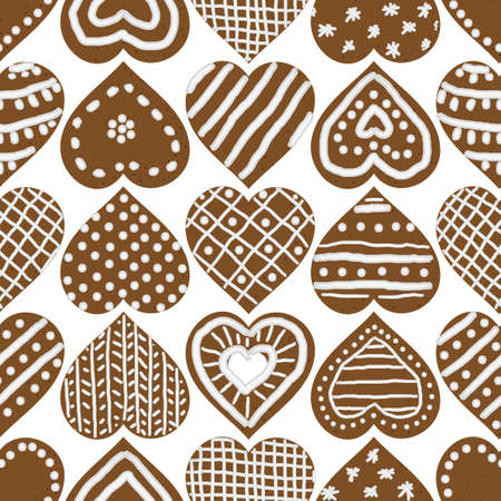 Christmas gingerbread heart shaped cookies seamless vector pattern. Festive surface print design with love symbols. For seasonal fabrics, stationery, scrapbook paper, gift wrap, textile, and packaging